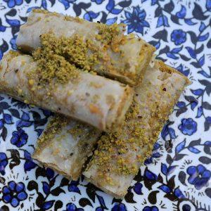 Aleppo Sweets Baklava Lady Fingers Crushed Pistachio